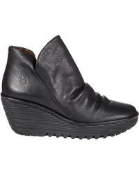 Fly London Yip Wedge Boot Black Leather - Lyst