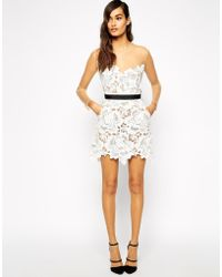 Self-portrait Harmony Lace Cutwork Dress With Mesh Sleeves - Lyst