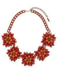 Topshop Orange Flower Collar - Lyst