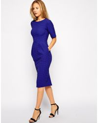 Asos Midi Wiggle Dress in Texture - Lyst