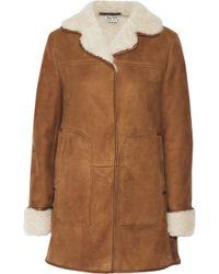 Miu Miu Leathertrimmed Shearling Coat - Lyst