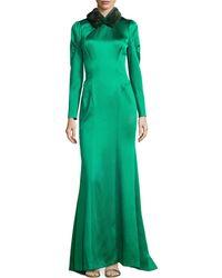 Carolina Herrera Mink-collar Satin Gown - Lyst