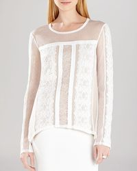 BCBGMAXAZRIA Shirt - Addyson Lace Blocked Long Sleeve - Lyst