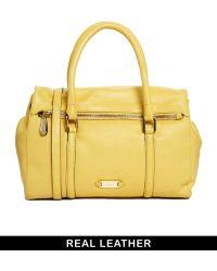 Ri2k Parker Leather Ochre Handbag - Yellow