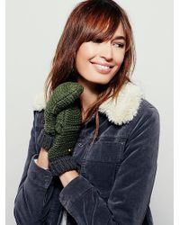 Free People Womens Day To Day Pop-top Mitten - Green