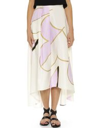 Cynthia Rowley | Floral High Low Silk Skirt - Cream/Pink Combo | Lyst