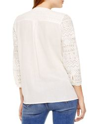 Two By Vince Camuto Lace And Crinkle Cotton Top - Natural