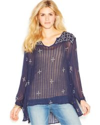 Lucky Brand Jeans Lucky Brand Long-Sleeve Embroidered Sheer Top - Lyst