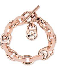 Michael Kors Rose Gold-Tone Fulton Toggle Bracelet - Lyst