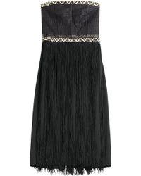 Tamara Mellon Embellished Bandeau Dress With Fringe - Lyst