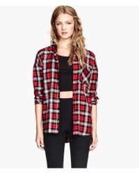 H&M Red Checked Shirt - Lyst