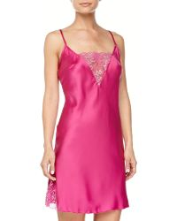 Cosabella Positano Shimmer-lace Satin Chemise  G-string  - Lyst