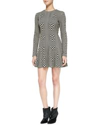 Nicole Miller Artelier - Long-sleeve Printed Fit & Flare Dress - Lyst