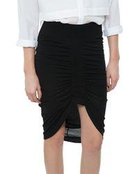 Helmut Lang Scrunch Front Skirt black - Lyst