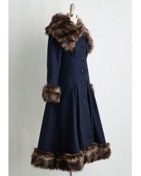 Collectif Clothing - Luxe-y In Love Coat In Navy - Lyst