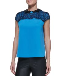 Robert Rodriguez Lacetop Leathercollar Blouse - Lyst