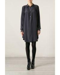 Kenzo Pleated Silk Shirt Dress - Lyst