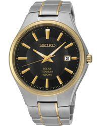 Seiko Men'S Solar Two-Tone Titanium Bracelet Watch 40Mm Sne382 - Lyst