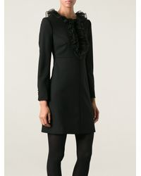 Saint Laurent Jabot Mini Dress - Lyst