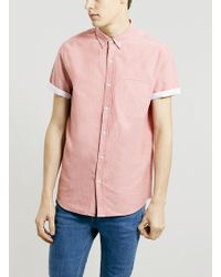 Topman Red Contrast Oxford Short Sleeve Shirt - Lyst