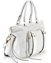 She + Lo Next Chapter Perforated Leather Mini Satchel - White