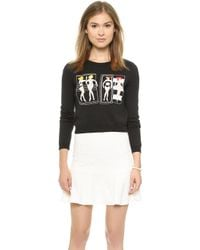 Alice + Olivia Cropped Beach Babe Sweater - Black Multi - Lyst