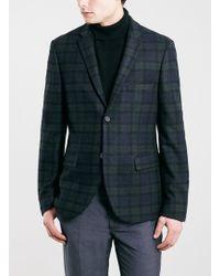 Topman Green Tartan Skinny Fit Blazer - Lyst