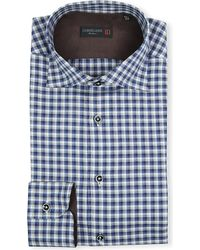 Corneliani Checked Elbowpatch Singlecuff Shirt Blue - Lyst