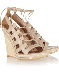 Aquazzura Amazon Leather, Rope And Wood Wedge Sandals - Lyst