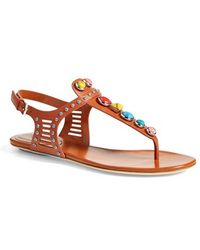 Gucci 'Lika' Stone Detailed Sandal - Lyst