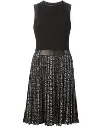 Michael Kors Black Pleated Dress - Lyst
