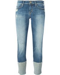 Mother Distressed Turned Up Hem Jeans - Lyst