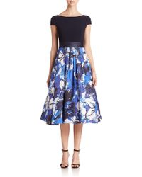 Theia Crepe & Silk Belted Dress - Lyst