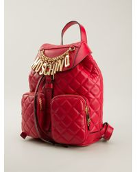 Moschino Quilted Logo Backpack - Lyst