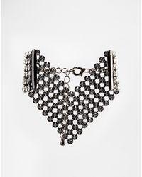 Asos Crystal V Bracelet - Lyst