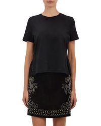 Valentino Black Peplum-back T-shirt - Lyst
