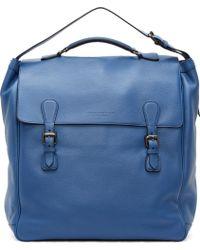 Burberry Prorsum Bright Blue Grained Leather Travel Satchel - Lyst