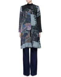 By Walid 'gigi' Patchwork Brocade One Of A Kind Coat - Blue