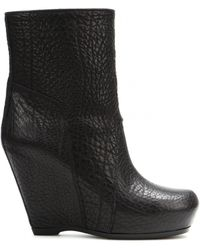 Rick Owens Classic Leather Wedge Ankle Boots - Lyst