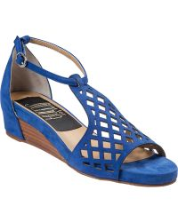 Vaneli For Jildor Koleta Wedge Sandal Blue Suede - Lyst