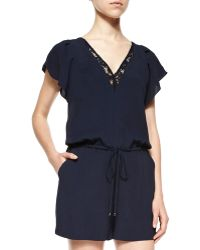 Rebecca Taylor Crepe V-Neck Short Jumpsuit blue - Lyst