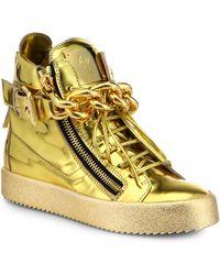 Giuseppe Zanotti Specchio Metallic Leather Chain Link High-Top Sneakers - Lyst