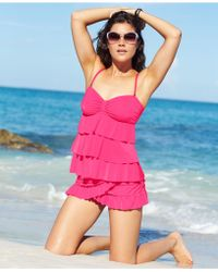 Kenneth Cole Reaction Tiered Ruffle Tankini Top - Lyst