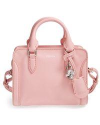 Alexander McQueen 'Mini Padlock' Calfskin Leather Duffel Bag - Lyst