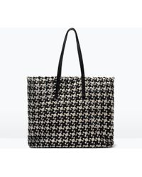Zara Woven Fabric Shopper - Lyst