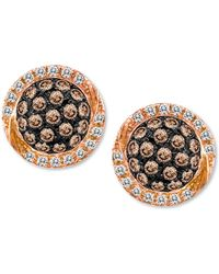Le Vian Chocolate By Petite Chocolate Diamond (3/8 Ct. T.W.) And White Diamond (1/10 Ct. T.W.) Pave Oval Stud Earrings In 14K Rose Gold - Lyst