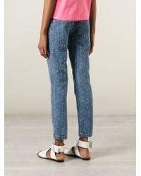 YMC Polka Dot Embroidery Jeans - Blue