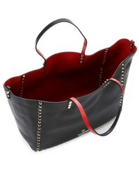 Valentino Black and Red Leather Reversible Rockstud Convertible Trapeze Tote - Lyst