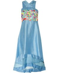 Suno Floral Embroidery Criss Cross Dress - Lyst