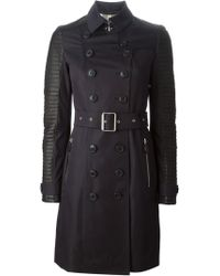 Burberry Brit Contrast Cotton and Leather Trench Coat - Lyst
